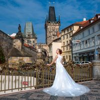 Connie & Fodo - Pre-Wedding photo shooting in Prague - Bride Portrait With Prague View